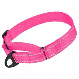 Ошейник для собак Мартингейл Bronzedog Active нейлоновый со светоотражением розовый