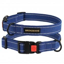 Ошейник для собак Bronzedog Сotton рефлекторный х/б брезент синий