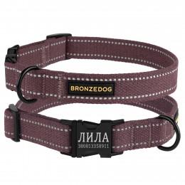 Ошейник для собак Bronzedog Сotton рефлекторный х/б брезент c металлической пряжкой черри