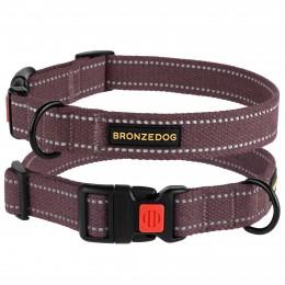 Ошейник для собак Bronzedog Сotton рефлекторный х/б брезент черри