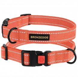 Ошейник для собак Bronzedog Сotton рефлекторный х/б брезент оранжевый