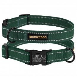 Ошейник для собак Bronzedog Сotton рефлекторный х/б брезент c металлической пряжкой зеленый