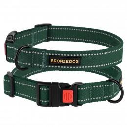 Ошейник для собак Bronzedog Сotton рефлекторный х/б брезент зеленый