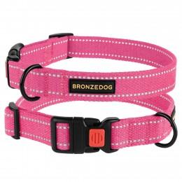 Ошейник для собак Bronzedog Сotton рефлекторный х/б брезент розовый