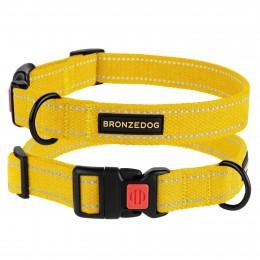 Ошейник для собак Bronzedog Сotton рефлекторный х/б брезент желтый