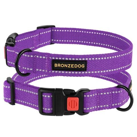 Ошейник для собак Bronzedog Сotton рефлекторный х/б брезент фиолетовый
