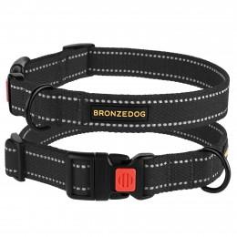 Ошейник для собак Bronzedog Сotton рефлекторный х/б брезент графит