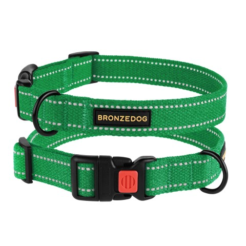 Ошейник для собак Bronzedog Сotton рефлекторный х/б брезент изумрудный