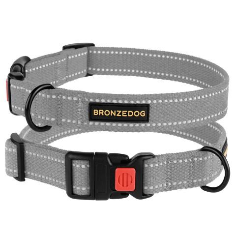 Ошейник для собак Bronzedog Сotton рефлекторный х/б брезент серый