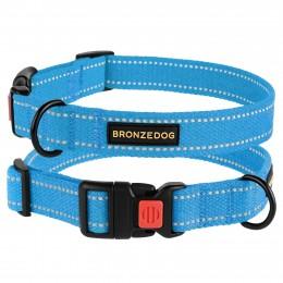 Ошейник для собак Bronzedog Сotton рефлекторный х/б брезент голубой