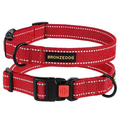 Ошейник для собак Bronzedog Сotton рефлекторный х/б брезент красный