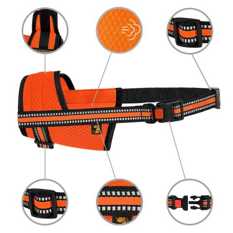 Намордник для собак Bronzedog Mesh дышащий регулируемый  3D сетка Оранжевый