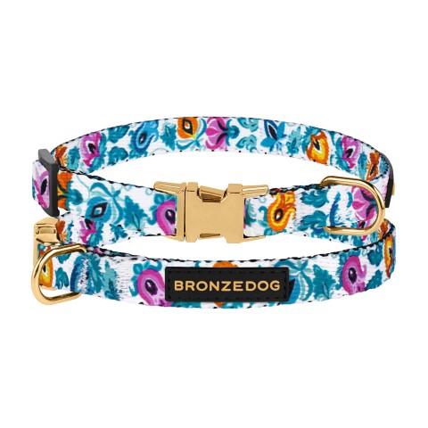 Ошейник для собак мелких пород Bronzedog Urban Folk нейлоновый c металлической пряжкой белый
