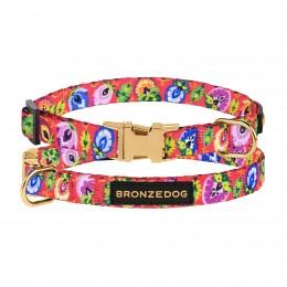 Ошейник для собак мелких пород Bronzedog Urban Folk нейлоновый c металлической пряжкой коралловый