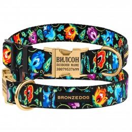 Ошейник для собак Bronzedog Urban Folk нейлоновый c металлической пряжкой золотистого цвета черный