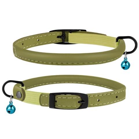 Ошейник для Кошек Круглый Кожаный BronzeDog Premium с Резинкой и Колокольчиком Оливковый