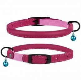 Ошейник для Кошек Круглый Кожаный BronzeDog Premium с Резинкой и Колокольчиком Розовый
