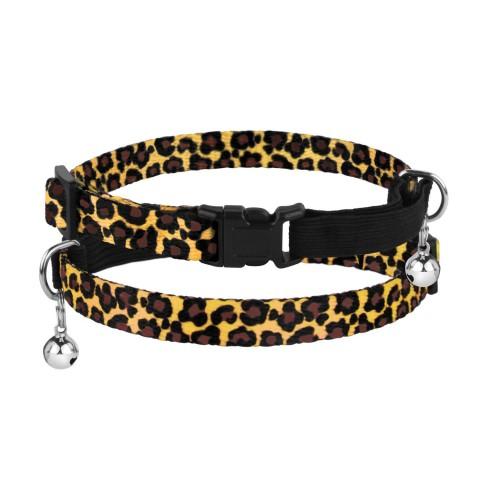 Ошейник для Кошек BronzeDog Urban Леопард Нейлоновый с Пластиковой Пряжкой и Колокольчиком Классический