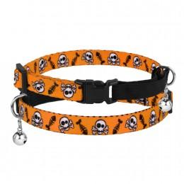 Ошейник для Котов Безопасный Нейлоновый на Резинке с Колокольчиком Черепа Оранжевый