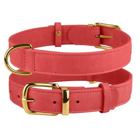 Ошейник для собак кожаный BronzeDog Crazy розовый
