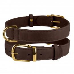 Ошейник для собак кожаный BronzeDog Crazy темно-коричневый