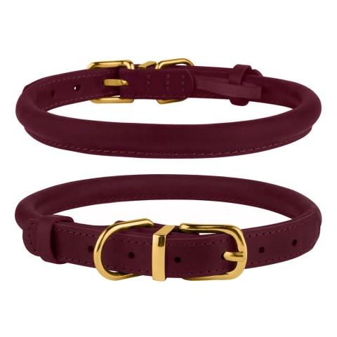 Ошейник для собак круглый кожаный BronzeDog Crazy бордовый