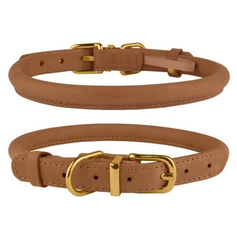 Ошейник для собак круглый кожаный BronzeDog Premium Crazy светло-коричневый