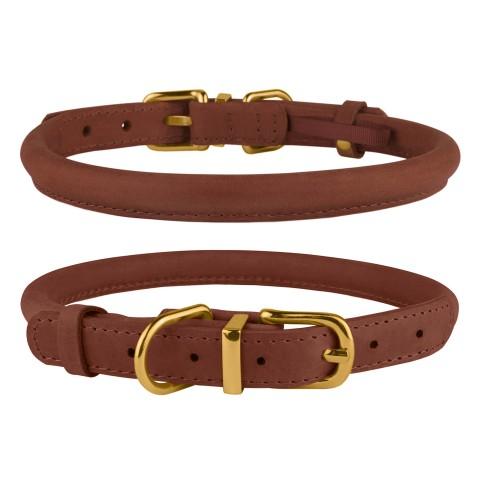 Ошейник для собак круглый кожаный BronzeDog Premium Crazy коньячный