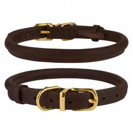 Ошейник для собак круглый кожаный BronzeDog Premium Crazy темно-коричневый
