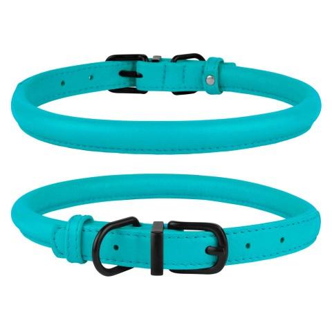 Ошейник для Собак Круглый Кожаный BronzeDog Premium с Металлической Фурнитурой Голубой