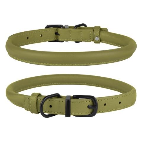 Ошейник для Собак Круглый Кожаный BronzeDog Premium с Металлической Фурнитурой Оливковый