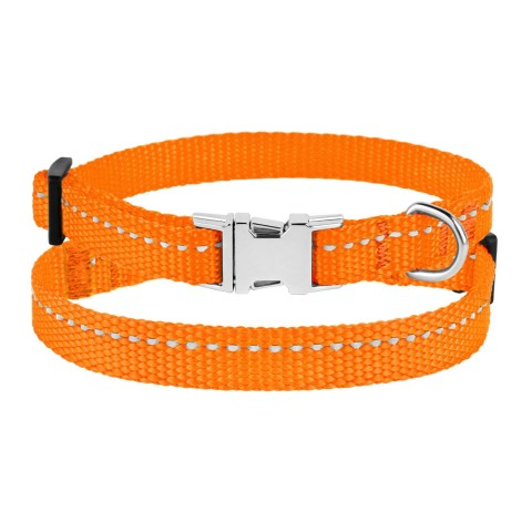 Ошейник для Собак Мелких Пород BronzeDog Active Нейлоновый со Светоотражением и Металлической Пряжкой Оранжевый