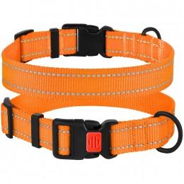 Ошейник для Собак BronzeDog Active Нейлоновый со Светоотражением и Пластиковой Пряжкой Оранжевый