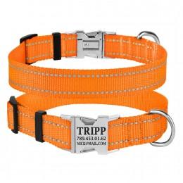 Ошейник для Собак BronzeDog Active Нейлоновый со Светоотражением и Металлической Пряжкой Оранжевый