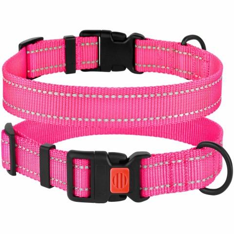 Ошейник для Собак BronzeDog Active Нейлоновый со Светоотражением и Пластиковой Пряжкой Розовый