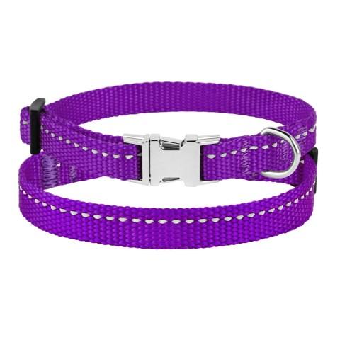 Ошейник для Собак Мелких Пород BronzeDog Active Нейлоновый со Светоотражением и Металлической Пряжкой Фиолетовый