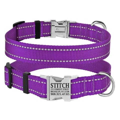 Ошейник для Собак BronzeDog Active Нейлоновый со Светоотражением и Металлической Пряжкой Фиолетовый
