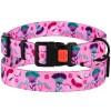 Ошейник для Собак Цветы Нейлоновый с Пластиковой Пряжкой Розовый