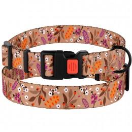 Ошейник для Собак BronzeDog Urban Цветы Нейлоновый c Пластиковой Пряжкой Бежевый