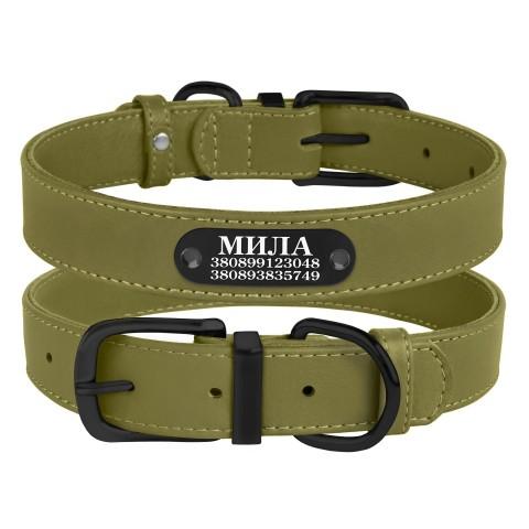 Ошейник для Собак Кожаный BronzeDog Premium с Металлической Фурнитурой Оливковый