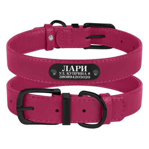 Ошейник для Собак Кожаный BronzeDog Premium с Металлической Фурнитурой Розовый