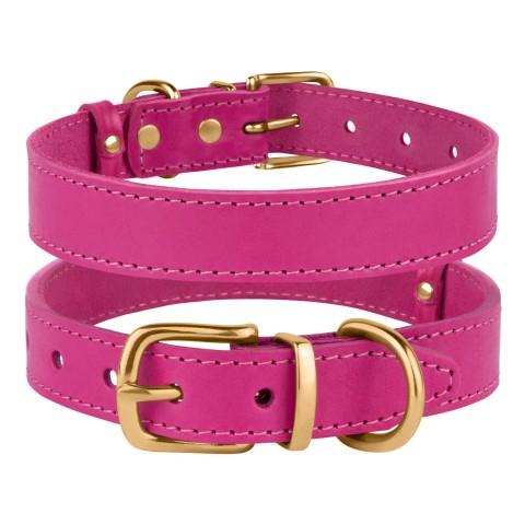 Ошейник для Собак Кожаный BronzeDog Classic с Литой Латунной Фурнитурой Розовый