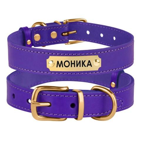 Ошейник для Собак Кожаный BronzeDog Classic с Литой Латунной Фурнитурой Фиолетовый