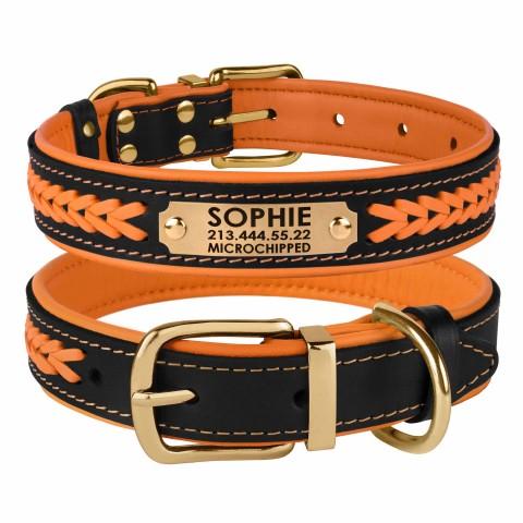 Ошейник для Собак Кожаный BronzeDog Premium с Литой Латунной Фурнитурой и Адресником Черно-Оранжевый