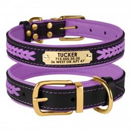 Ошейник для Собак Кожаный BronzeDog Premium с Литой Латунной Фурнитурой и Адресником Черно-Фиолетовый