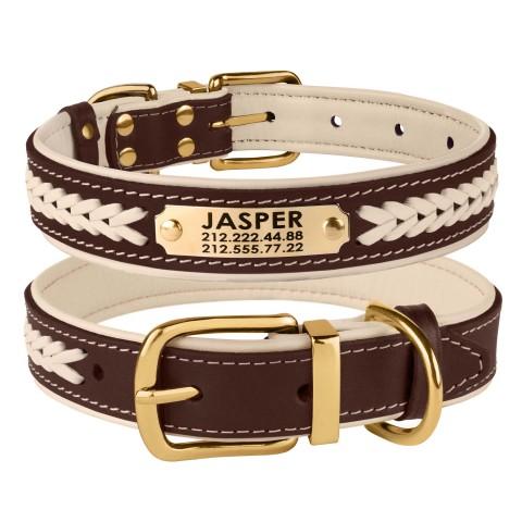 Ошейник для Собак Кожаный BronzeDog Premium с Литой Латунной Фурнитурой и Адресником Коричнево-Бежевый