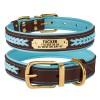 Ошейник для Собак Кожаный BronzeDog Premium с Литой Латунной Фурнитурой и Адресником Коричнево-Голубой