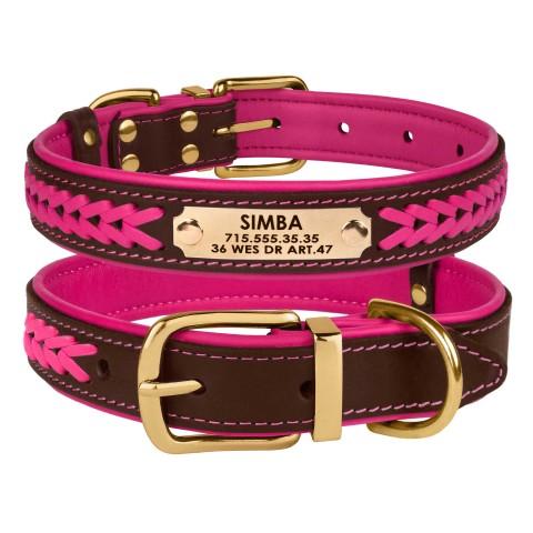 Ошейник для Собак Кожаный BronzeDog Premium с Литой Латунной Фурнитурой и Адресником Коричнево-Розовый