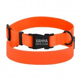 Ошейник для Собак Водоотталкивающий с Защитным Полимерным Покрытием и Металлической Пряжкой Оранжевый