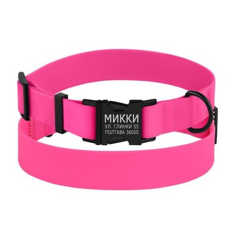 Ошейник для Собак BronzeDog Active Водоотталкивающий с Защитным Полимерным Покрытием и Металлической Пряжкой Розовый